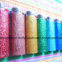 Holiday Sale!! Great Deal! LOT of 8 Glitter Bic Lighters Custom Handmade Colors of the Rainbow LONG LASTING