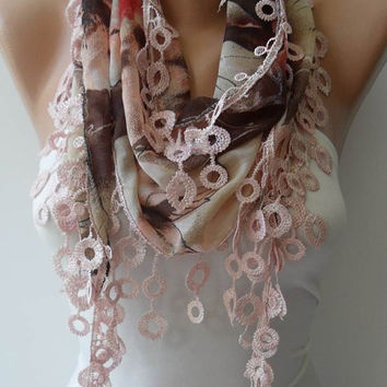Beige and Light Brown Scarf with Trim Edge - Summer Colors