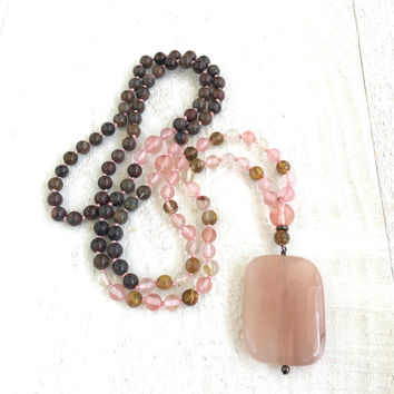 Peach Jade Knotted Mala Necklace, Cherry Quartz & Jasper Mala Beads, 108 Bead Healing Mala, Yoga Meditation Beads, Gemstone Japa Mala