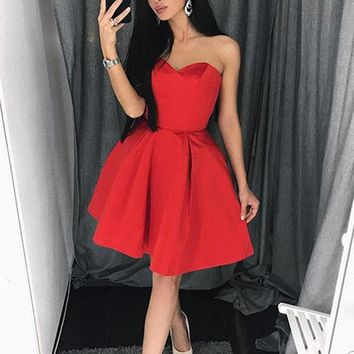 Simple Sweetheart Neck Red Prom Dresses, Red Homecoming Dresses