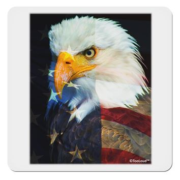 """Patriotic Bald Eagle - American Flag 4x4"""" Square Sticker by TooLoud"""