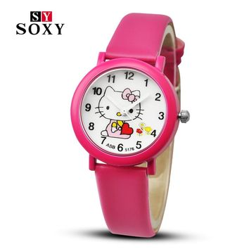 New arrived cartoon quartz watch hello kitty fashion wristwatch for kid children cute elegant relogio feminino masculino clock