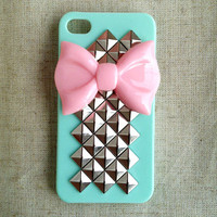 Pink Bow With Pyramid Studded Iphon.. on Luulla