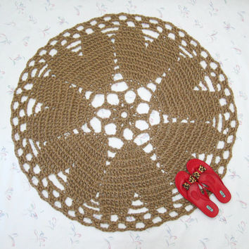 Heart Motif Jute Rug - Hippie Decor - Crochet Rug - Round Area Rug - Valentines Day Decor - Rustic Wedding - Heart Shaped - Doily Rug