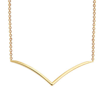 V 14K Solid Gold Necklace Seagull 14k Solid Gold Necklace