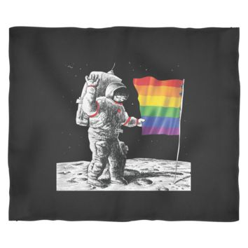 Gay Pride Fleece Blanket - Rainbow Flag on Moon
