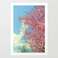 Spring pink flowers. Vintage Art Print by Guido Montañés