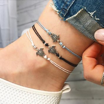 2018 Vintage Multiple Layers Anklets for Womens Bohemian Retro Turtle Rope Anklet Beach Bracelets Chain Animal Foot Jewelry