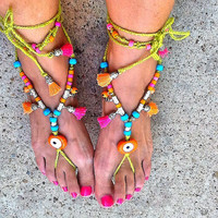 SALE------GYPSY  SANDALS - bohemian summer footless sandals - Yoga sandals -ethnic evil eye sandals -bohemian sandals
