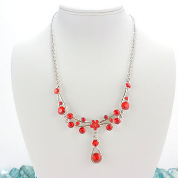 Christmas Necklace Holiday Red Necklace Y Bar Drop Crystal Silver Special Prom Occasion Holiday Gown Vintage Necklace Jewelry