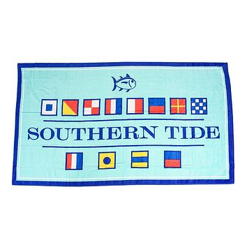 Nautical Flag Beach Towel in Offshore Green by Southern Tide