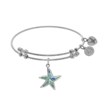 Brass with White Created Opal Starfish Charm Bangle