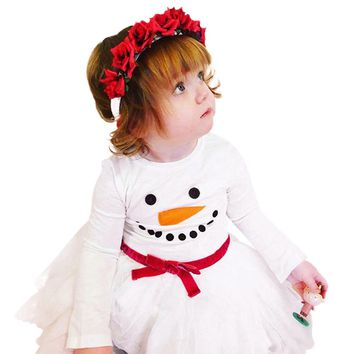 MUQGEW Baby Girl dress elegant Christmas Clothing Long Sleeves Snowman Print Dress girl costumes kids clothes girls dresses