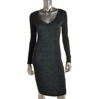 Bar III Womens Heathered V-Neck Casual Dress
