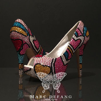 LOVE Heels MultiColors Crystals Prom Party Bridal by MDNY on Etsy
