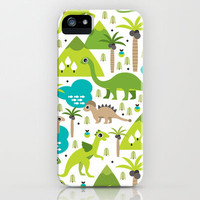 Dinosaur illustration pattern print iPhone & iPod Case by Little Smilemakers Studio
