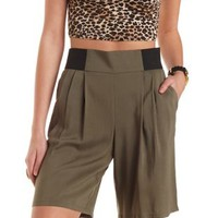 Pleated Full Bermuda Shorts by Charlotte Russe