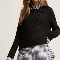Pinstriped Sweater-Knit Twofer Top