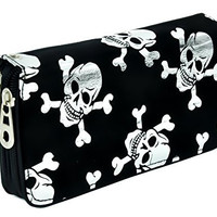 Silver Skull and Crossbones Women's Wallet with Wristlet Strap