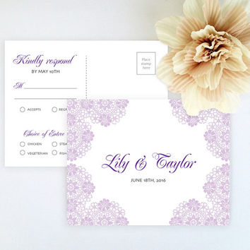 RSVP postcard style with entree choice printed on luxury cream/white pearlescent paper - Purple lace wedding RSVP card