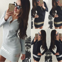 Winter Sexy Deep V Zippers Print Long Sleeve Dress One Piece Dress [6048899457]