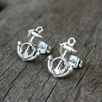 Sterling Silver Anchor w/ Rope Earrings - Nautical