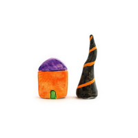 Halloween clay house and tree -spooky orange house and black tree, miniature home decor, set of 2