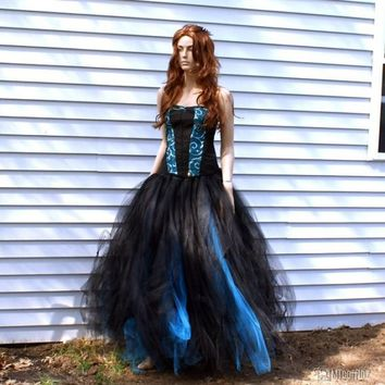 Turquoise Blue and Black Formal Alternative Wedding Skirt All Sizes
