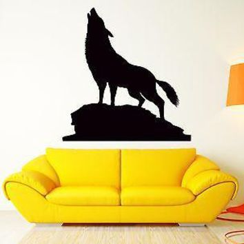 Wall Sticker Wolf Animal Predator Forest Decal For Living Room Decor Unique Gift (z2560)