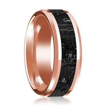 Lava Rock Stone Inlaid 14k Rose Gold Polished Wedding Band for Men with Beveled Edges - 8MM