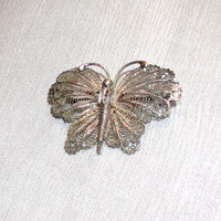 Vintage Sterling Silver 1920s Filigree Butterfly Brooch Pin