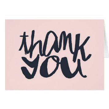 Modern Pink and Blue Typographic Thank You Card