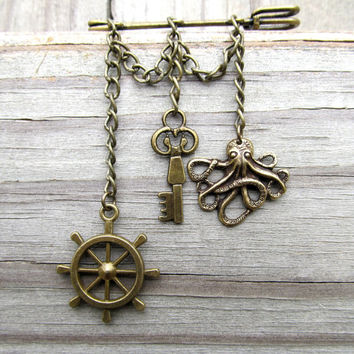 The Captain Pin - steampunk nautical brooch - brass pin - anchor, octopus, wheel, vest, mens