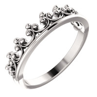 14K White Gold Stackable Crown Ring