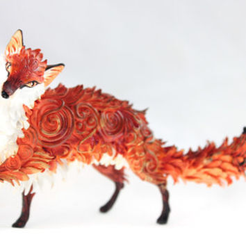 Fantasy fox statuette, animal figurine, handmade clay fox, red fox gift, wildlife, animals, totem