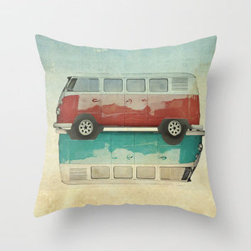 VW Kombi Ying and Yang Throw Pillow by Vin Zzep | Society6