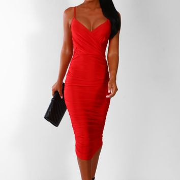Sleek Vibes Red Slinky Ruched Midi Dress
