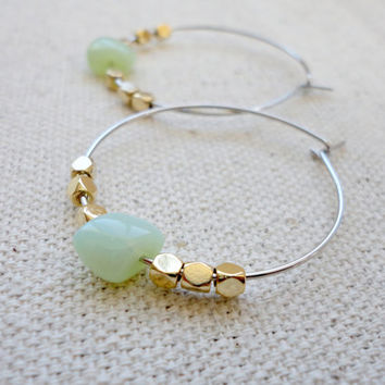 Hoop earrings with green czech beads, Mixed metal hoop earrings, Bridesmaid earrings, Simple everyday earrings