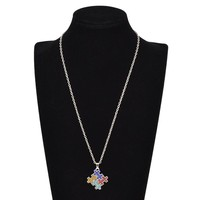 Autism Awareness Jigsaw Puzzle Piece Crystal Paved Pendant Fashion Necklace Jewelry