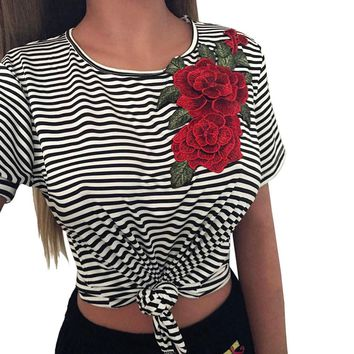 Rose Appliques Black T-shirt Women Fashion Sexy Bare Midriff Striated