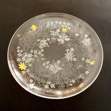 Spring wreath,  Hand engraved on glass Dish, Wedding housewarming gift,  Living room ideas, Collectible glass, New home gift, Couple gift