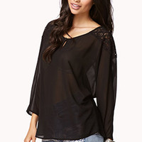 Floral Lace-Trimmed Dolman Top | FOREVER 21 - 2059065451