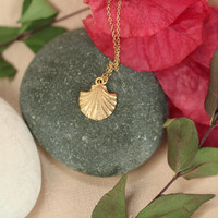 Gold shell necklace // sea shell necklace // beach necklace // summer // layering // a 22k gold vermeil sea shell on 14k gold vermeil chain
