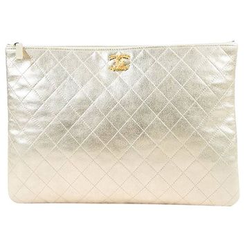 Chanel NWT Light Metallic Gold Leather Quilted 'CC' Laptop Case / Pouch