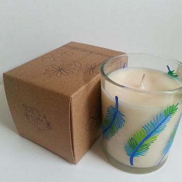 Vanilla Candle, Handpainted Candle, Feathers Painted Glass, Scented Candle, White Candle, Wedding Favor, More Scents Available!