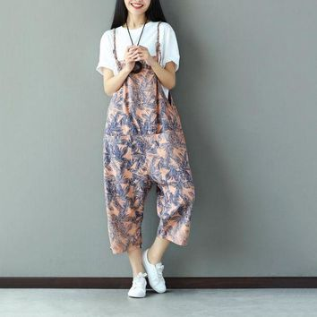 CREYCI7 Suspenders Pants Capri Summer Print Women Jumpsuit Romper Loose Casual Feather Pattern Overalls Female Fashion Dungarees