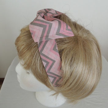 Chevron Wire Headband, Pink Twist Scarf, Bandana, Hat Band, Head Band, Twist Head Band, Head Wrap, Dolly Bow, Hair Tie, Bendable Hair Band