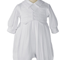 Windowpane Pattern Cotton Coverall w. Long Sleeves & Hat Newborn-9m
