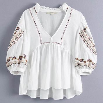 Floral Embroidery Peplum Blouse