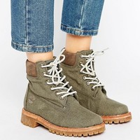 Timberland Fabric 6 Inch Lace Up Flat Boots at asos.com